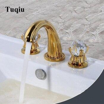 Luxo banheiro torneira de lavatório luxo cristal lidar com generalizada 8 polegada três furos torneira da bacia pia ouro terminado