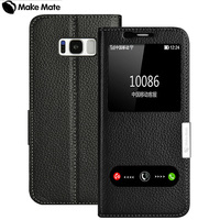 For Samsung S8 Plus Case Luxury View Window Genuine Leather Cover Stand Case For Samsung Galaxy