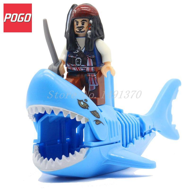 Ghost Zombie Shark Block Pirates of the Caribbean Single Sale Captain Jack Building Blocks Set Model Bricks Toys for Children laying the ghost