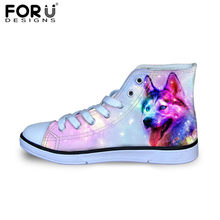 3b6f8cd77 FORUDESIGNS Galaxy Wolf Dog 3D Print Flats Casual Kids High Top Canvas Shoes  Classic Lace-up Autumn Sneakers Breathable Zapatos