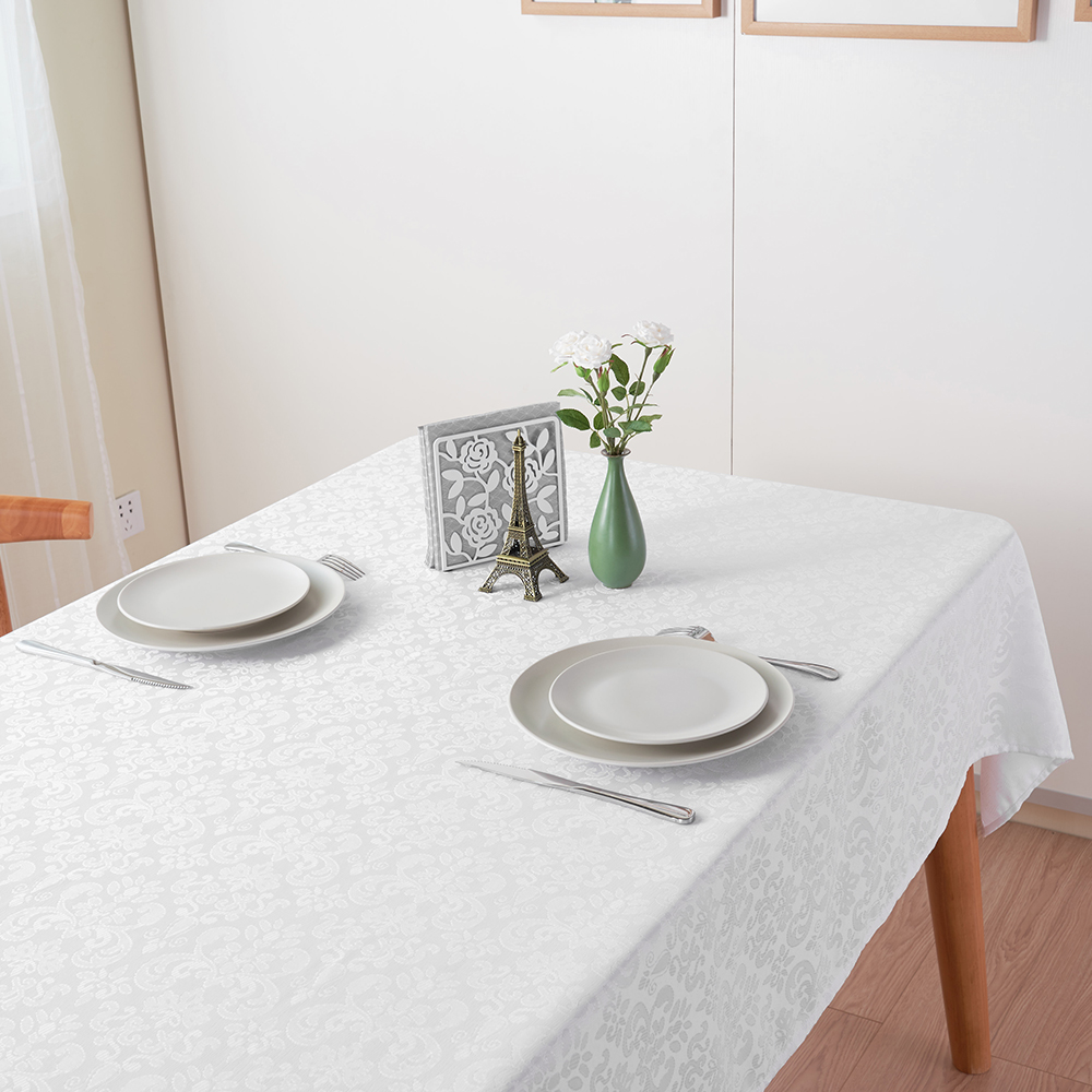 220 140cm Oilproof Table Cover White Rectangle Dinner