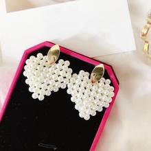 Korean White Simulated Pearl Beaded Heart Earrings Women Dangle Drop 2019 Fashion Jewelry Wholesale Bijoux Handmade