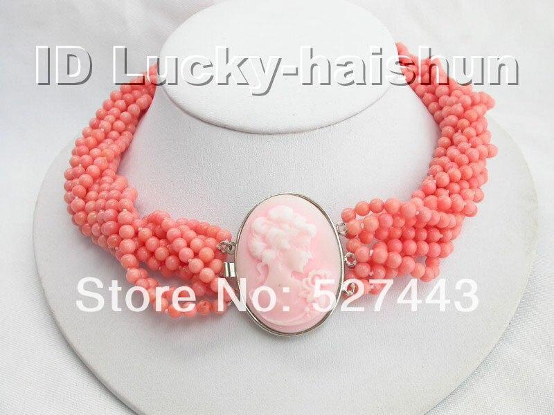 Joli mariage de femmes en gros livraison gratuite>> AAA 10 Stds 100% naturel rose corail collier camée fermoir