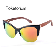Toketorism 2017 new cat eye sunglasses women brand designer vintage wood sunglasses polarized oculos de sol 9051