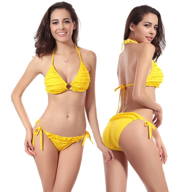 1efdc84da Das mulheres por atacado praia swimwear sexy maiô scrunch bundas mini  ruffled pano de natação bikinis