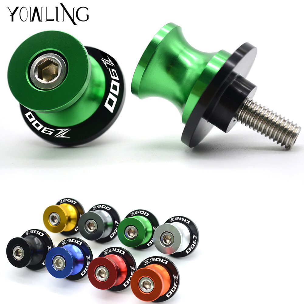 YOWLING New Green CNC M8 Motorcycle Stand Screw Swingarm Spools Slider 8MM Fit For KAWASAKI Z900 Z 900 Year 2017 High Quality z900 fashion 8mm stand screw motorcycle swingarm sliders spools for kawasaki z900 2017 sawing arm motocross accessories screw
