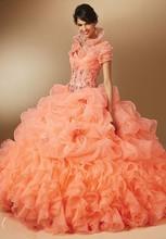 Schatz Korsett Orange Quinceanera Kleider mit Jacke Ballkleid Abendkleid Kleid Rüsche Organza Mädchen Geburtstag Party 16 jahre
