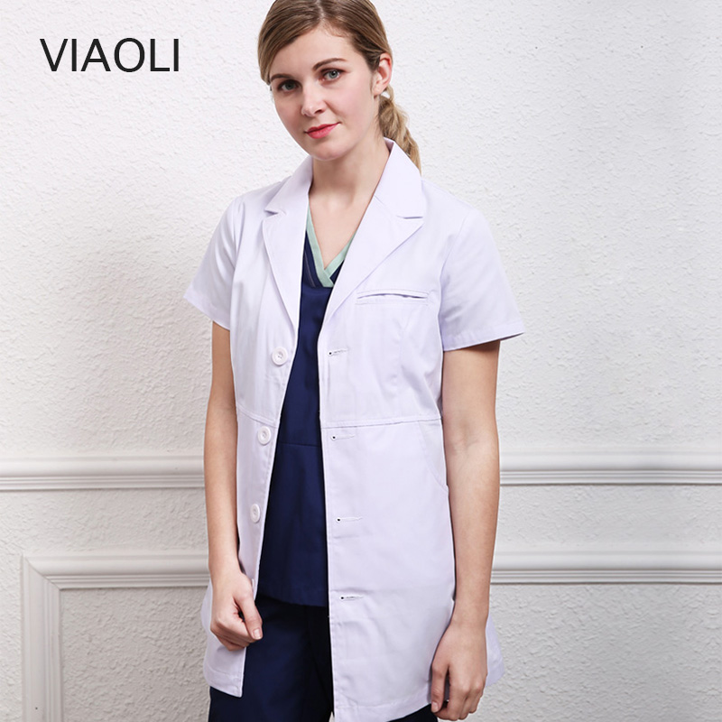 Viaoli Women White Coat Female Doctor Dress Slim Long Sleeve Hospital Workwear Beauty Salon Pharmacy Clinic Dresses White Coat Ture 100% Guarantee Work Wear & Uniforms Lab Coats