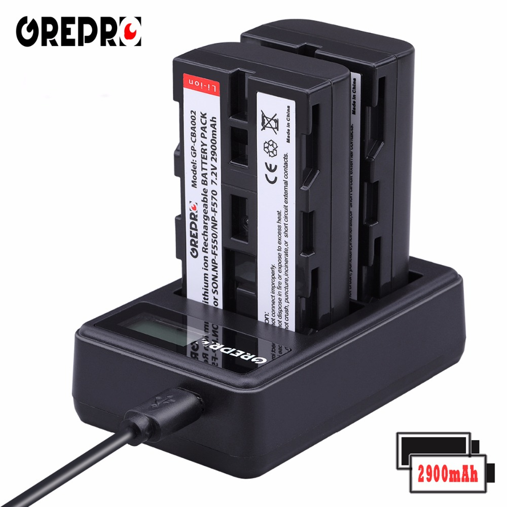GREPRO 2pcs 2900mAh Battery NP-F550 NP-F330 NP F550 NP F330 Camera Battery+LCD USB Dual Charger for Sony NP-F550 NP-750 Bateria вафельница waffeleisen np 526 np 526