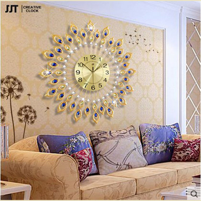 Klok Jjt Brand 20 Inch Larger Wall Clock European Style Geometric Separates Art Quartz Metal Decoration For Living Room