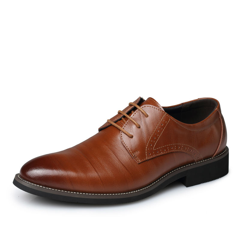Hot 2017 Men Dress Shoes Men Fashion Genuine Leather Shoes Man Lace-Up Business Casual Flat Shoes Male Pointed Toe Oxfords Shoes