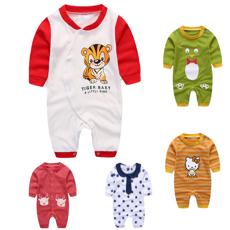 Toddler Baby Rompers Roupas Infant Autumn Spring Jumpsuits Baby Boys Girls Cotton Cartoon Rompers Long Sleeve Clothing CL2054 baby climb clothing newborn boys girls warm romper spring autumn winter baby cotton knit jumpsuits 0 18m long sleeves rompers