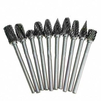 цена на 10pcs/set 1/8 Shank Tungsten Carbide Drill Milling Cutter Rotary Tool Burr Diamond Rotary Dremel Tools Electric Grinding Tools