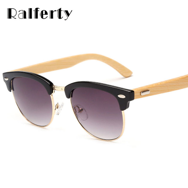 a74a1d890f Ralferty Semi-rimless Bamboo Sunglasses Women Men Wooden Temple Gradient Sun  Glasses Sport Goggles Shades UV400 Oculos Eyewear