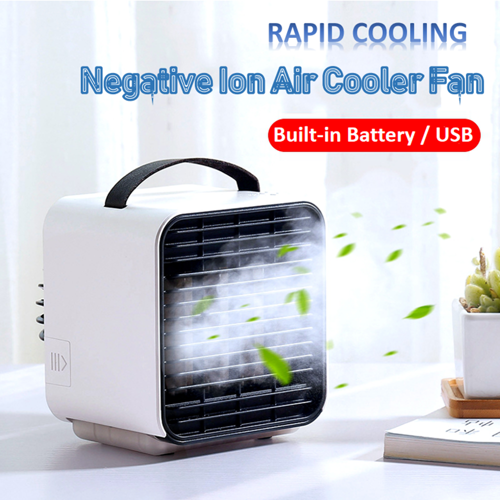 Summer Portable Air Cooler Fan Negative Ion Air Conditioning Humidifier Purifier Desktop Mini Cooling Fan Home