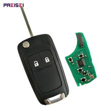 PREISEI 2 Buttons Complete Flip Car Remote Key For Opel Vauxhall Key Replace 433MHZ ID46 Electronic Chip