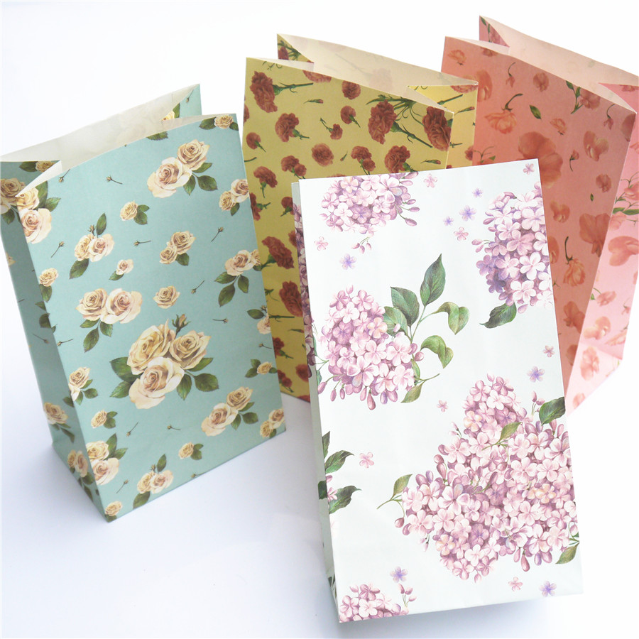 Flower lovely treat bags paper bags gift bags craft kraft for Craft paper gift bags
