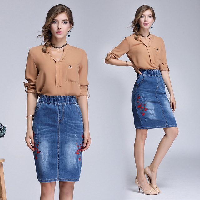 4fb7db571ff3c New Vintage Denim Skirt Slim Office Skirt Embroidered Pencil Skirt Midi  Women 4XL Plus Size Burrs Jeans Skirt Faldas Mujer