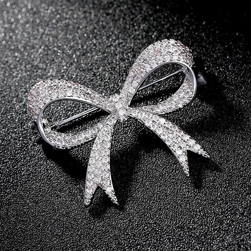 Simple Bow Knot Brooch Pin Luxury Rhinestone Wedding Dress Sash Pins Bridal Bouquet Brooches Elegant Jewelry Gift Broches Mujer in Brooches from Jewelry Accessories