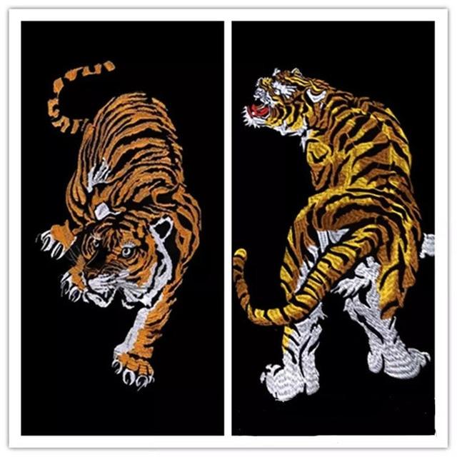 34*18 cm haftowana odzież duże tygrysie łaty na ubrania z nią odzież rower patch patchwork bawełna tkaniny nowy rok prezenty