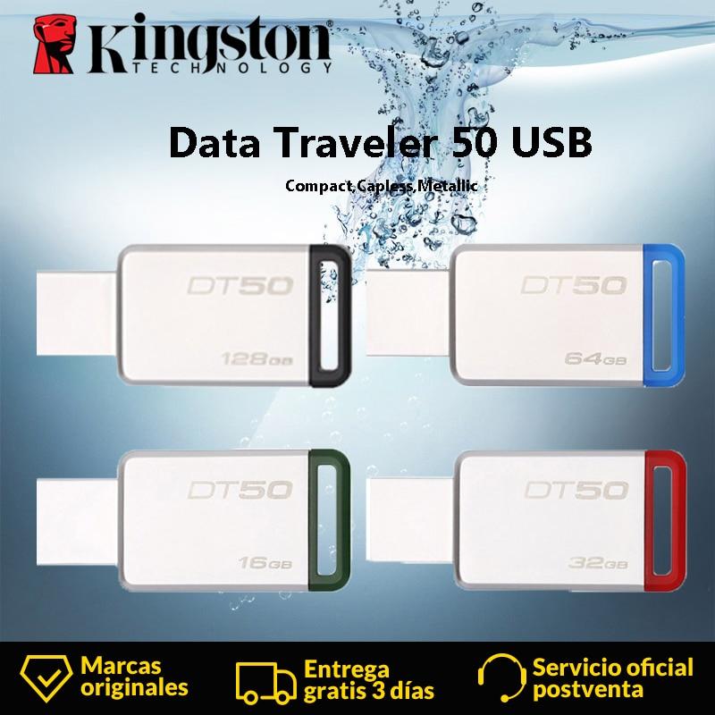Kingston DT50 USB Flash Drive 8GB 16GB 32GB 64GB 128GB Data Traveler USB 3.1 3.0 Pendrive Stick Mental Pen Drive Memory U StickKingston DT50 USB Flash Drive 8GB 16GB 32GB 64GB 128GB Data Traveler USB 3.1 3.0 Pendrive Stick Mental Pen Drive Memory U Stick