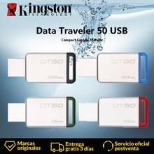 Kingston DT50 USB флэш-накопитель 8 Гб оперативной памяти, 16 Гб встроенной памяти, 32 ГБ, 64 ГБ, 128 ГБ путешественник данных USB 3,1 3,0 Флешка-ручка психического флеш-накопитель в форме ручки