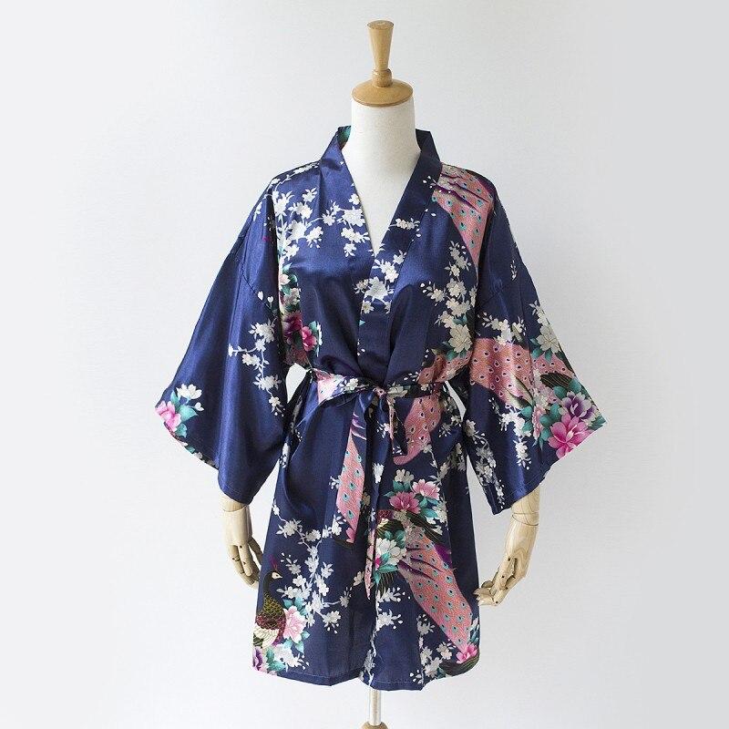 navy blue chinese women s satin bath robe kimono gown nightgown