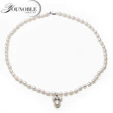 100% Real Natural Freshwater Pearl Necklace Women,Wedding Bridal Choker Pendant Necklace Mom Birthday Gift недорого