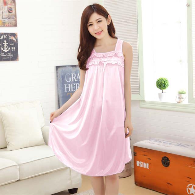 6762ef9a8 placeholder Longa camisola de seda camisola de verão para as mulheres plus  size senhoras lingerie vestes roupa