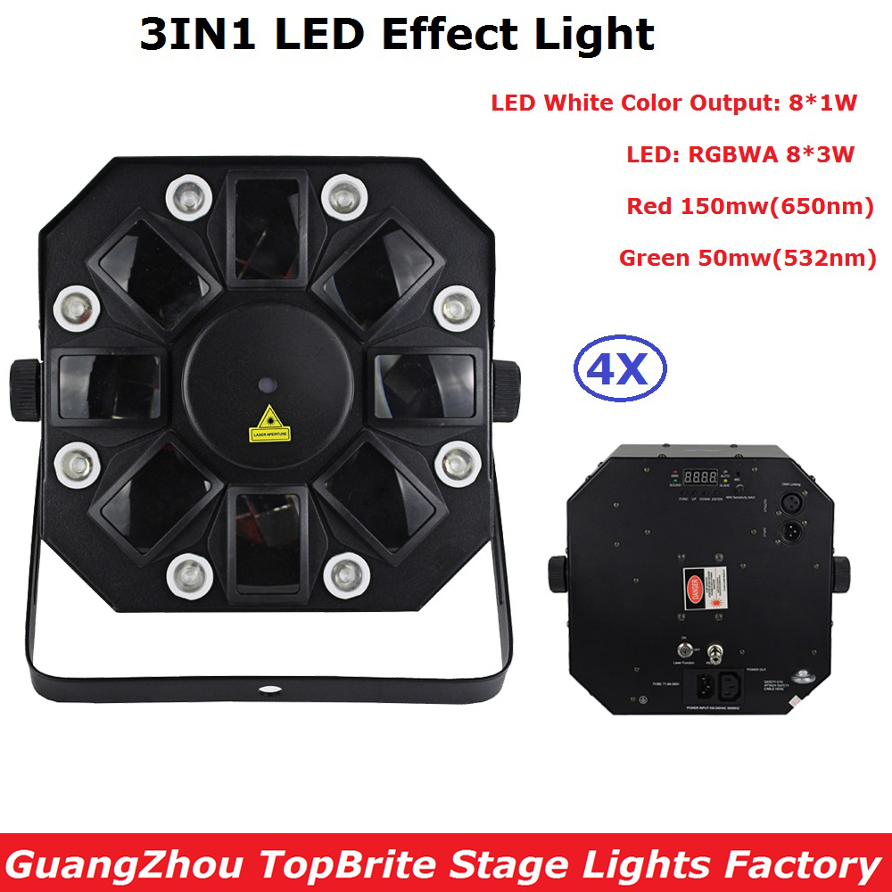 EU/US Plug New 8X3W RGBWA  + 8X1W White Color LED Stage Effect Lighting With RG TWO Color 200mw Laser Lights For Party Bar Dj rg mini 3 lens 24 patterns led laser projector stage lighting effect 3w blue for dj disco party club laser
