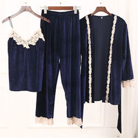 Spring Autumn Women Velour Pajama Set Warm Pijama Femino Lace Pyjama Set Elegant Sleepwear Set Full