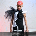 New style Novelty Black-and-White Patchwork Vest male ds costumes dj jazz dance costume