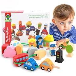 Деревянный трейлер животных блок нанизывая бисерные игрушки для обучения детей и образования красочная игрушка для детей нанизывая