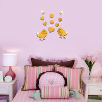 10 Pcs Set 3D Fashion Acrylic Mirror Surface Wall Sticker Love Birds Design Removable Wall Art