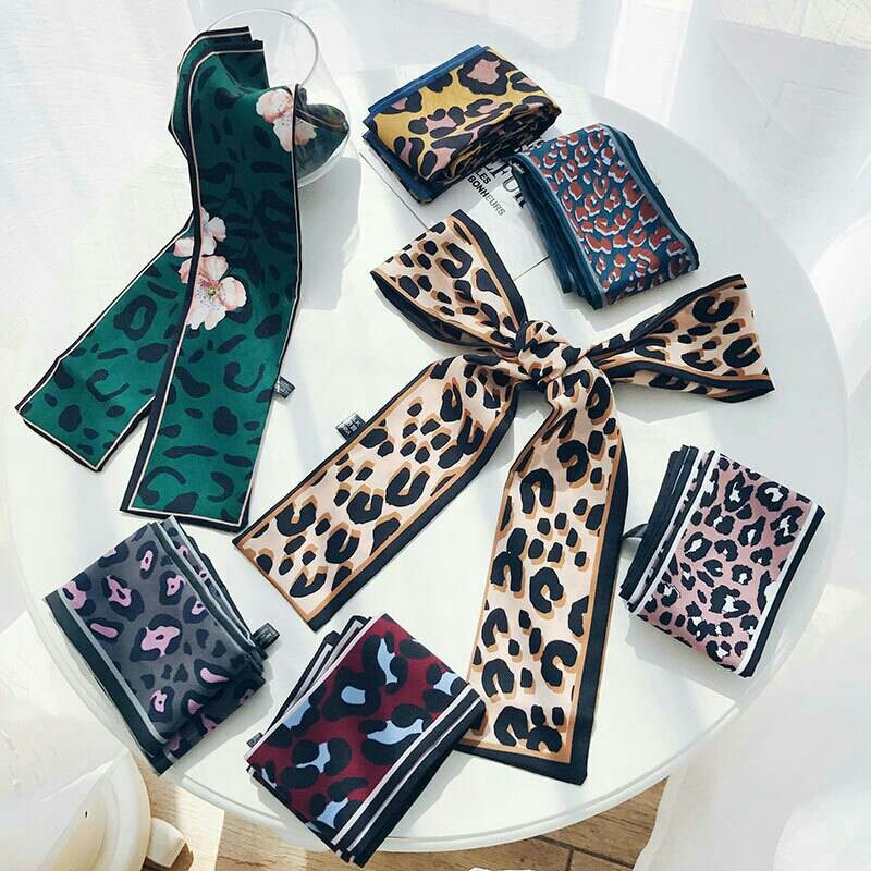 Silk Scarf 2019 Leopard Animal Print Scarf  Women    Silk Scarf Small Handle Bag Ribbons Female Neckerchief Head Long Scarves