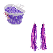 Kids Bicycle Bike Cycling Front Basket + Handlebar Grip Tassels Streamers handlebar Grips Decoration for Accessories