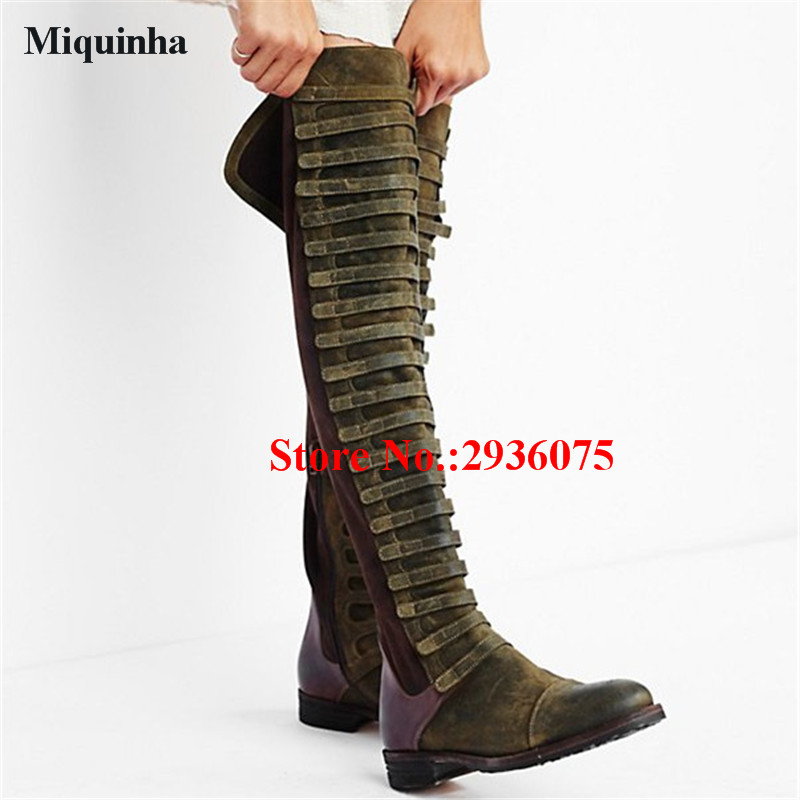 Over-The-Knee Boots Army Green Suede Leather Patchwork Women Thigh High Boots Multi Belt Buckle Zip Cowgirl Boots Shoes Woman faux suede gladiator retro army boots over the knee women snow boots winter thigh high boots shoes woman green botas size 35 43