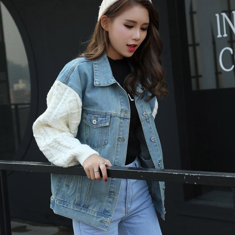 Jacket Lâche Version Blue Pull Jeans Femme Splice Denim Manches Blouse Long Étudiant Vent Veste Cowgirl Coréenne EFqZZw