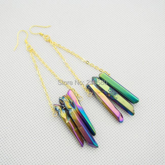 E01SXZ074 Rainbow Crystal Quartz Point Dangle Earrings Gold or Silver