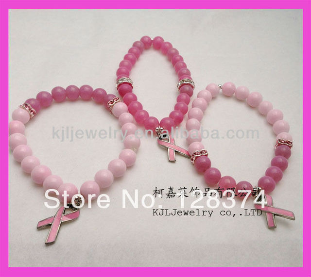 pink color breast cancer beautiful charm pink beads bracelet for the women