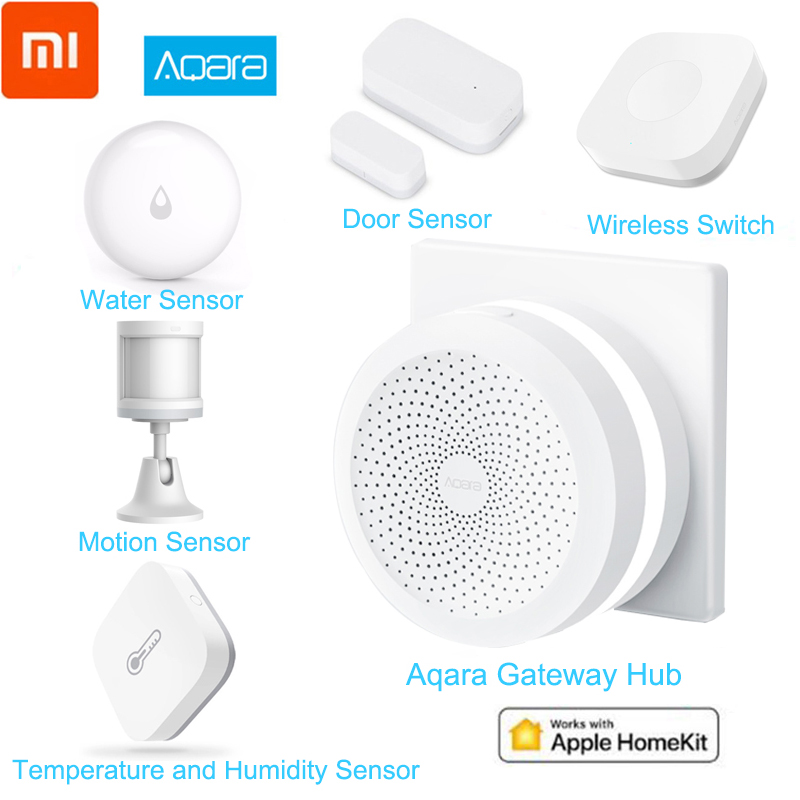 Xiaomi Aqara Smart Home Kits Mijia Hub Door Window Sensor Human Body Wall Switch Humidity Water Sensor Two-way Module Aqara Hub