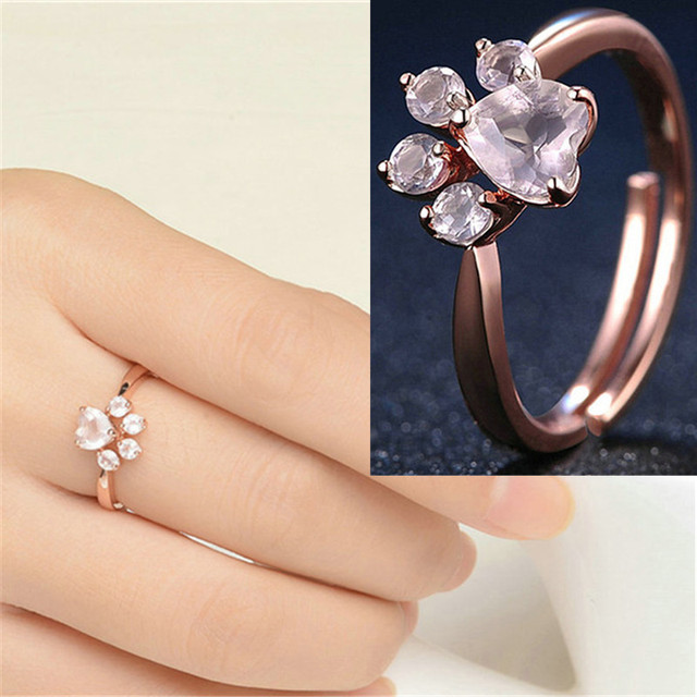 Bear Paw Cat Claw Opening Adjustable Ring Rose Gold Dog Paw Rings for Women Roma