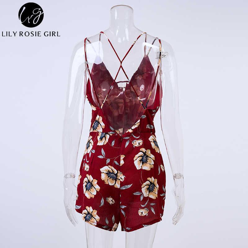Conmoto Сексуальный летний комбинезон с открытой спиной, красный комбинезон в стиле бохо с цветочным принтом, короткий пляжный ромпер