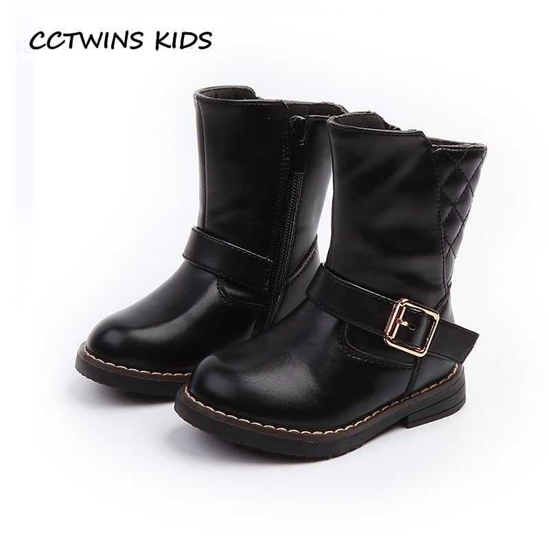CCTWINS KIDS 2018 Winter Children Pu Leather Shoe Baby Girl Brand Mid Calf Boot Toddler Fashion Warm Boot Black H040 cctwins kids 2018 winter children brand black knee high boot baby pu leather flat girl fashion warm shoe toddler h057