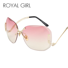 ROYAL GIRL New Arrive Fashion Square Rimless Sunglasses Women Vintage Brand Designer Coating Sun Glasses UV400 ss125