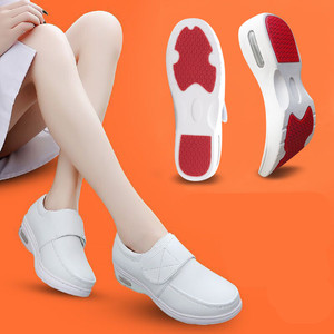 Image 5 - YAERNI Air Cushion Fall Winter Nurse Shoes Womens Platform Sneakers 2019 White Split Leather Loafers Women Moccasins with Fur
