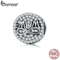 BAMOER Authentic 925 Sterling Silver Infinity Love For MOM Round Dazzling Clear CZ Beads Fit Bracelet