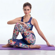 2016  Pilates Yoga Suits Top + Pants Sets 3D Geometric Print Women's Jumpsuit Gym Running Fitness Sports Clothing Suits