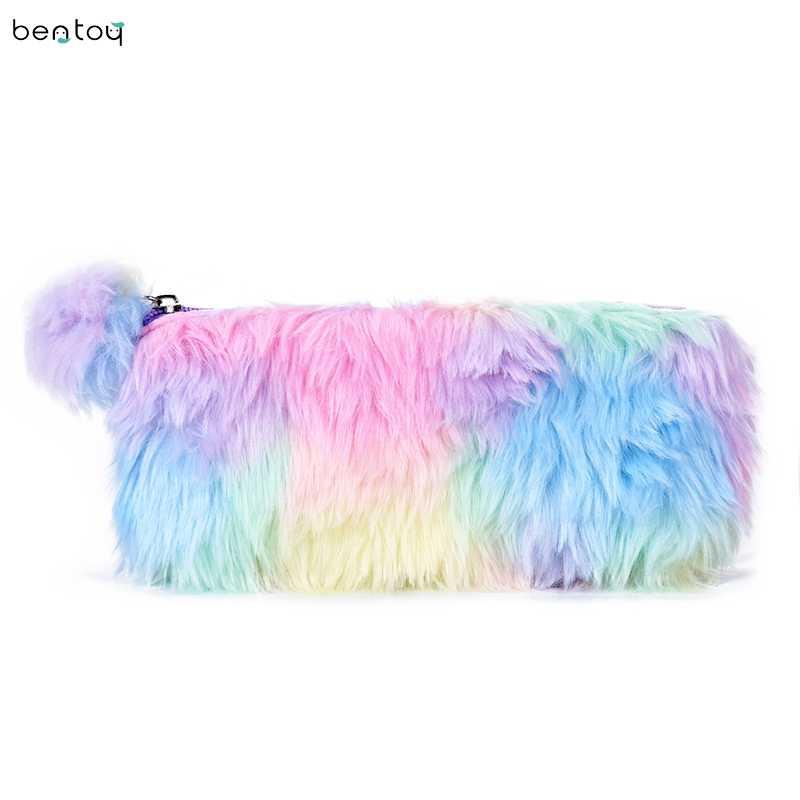 f8262ef85a94 NEW 2018 Colorful Plush School Pencil Case Women Makeup Brush Case Holder  Cosmetic Bag Cute Pompoms Clutche Beauty Bag Pouch