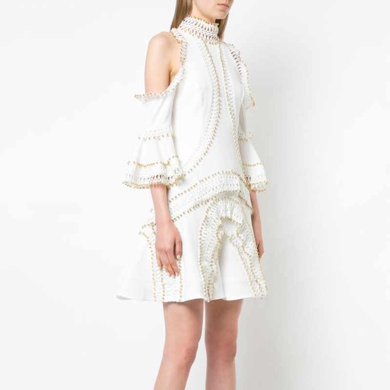 Лето пикантные Лоскутные кружевное Открытое платье с расклешенными рукавами Вечерние платья с высоким, плотно облегающим шею воротником трапециевидной формы Мини-платья женский 2019 Новый
